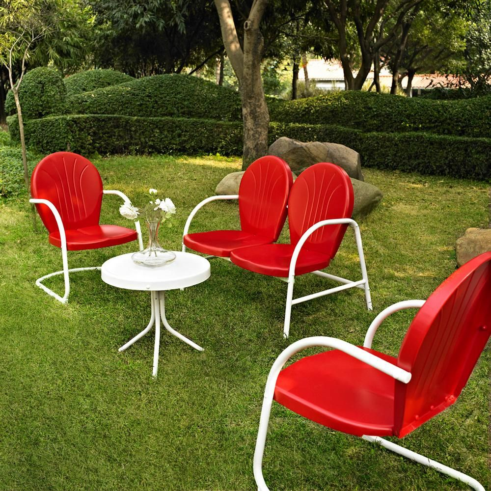 Crosley Griffith Red 4 Piece Metal Patio Conversation Set
