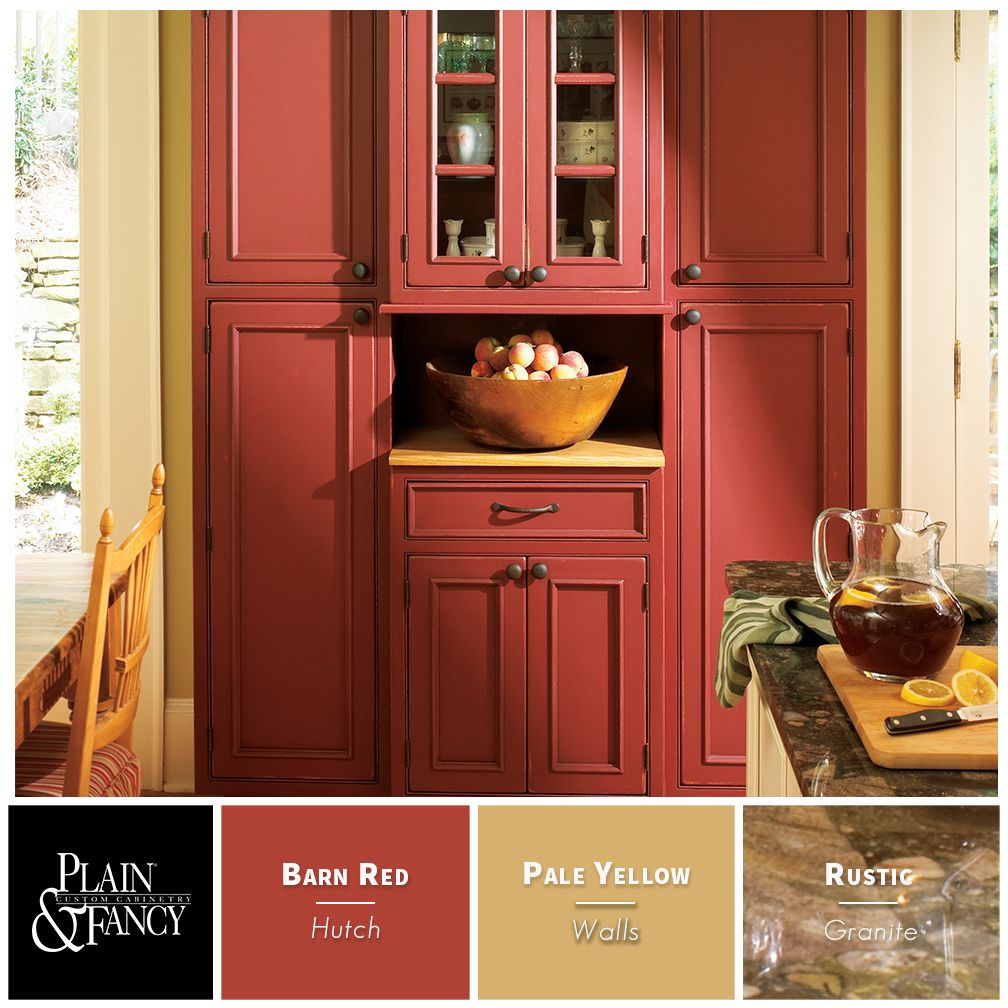 Country Kitchen With Warm Colors Like Barn Reds And Pale Yellows Red Kitchen Cabinets Rustic Kitchen Cabinets Kitchen Cabinets