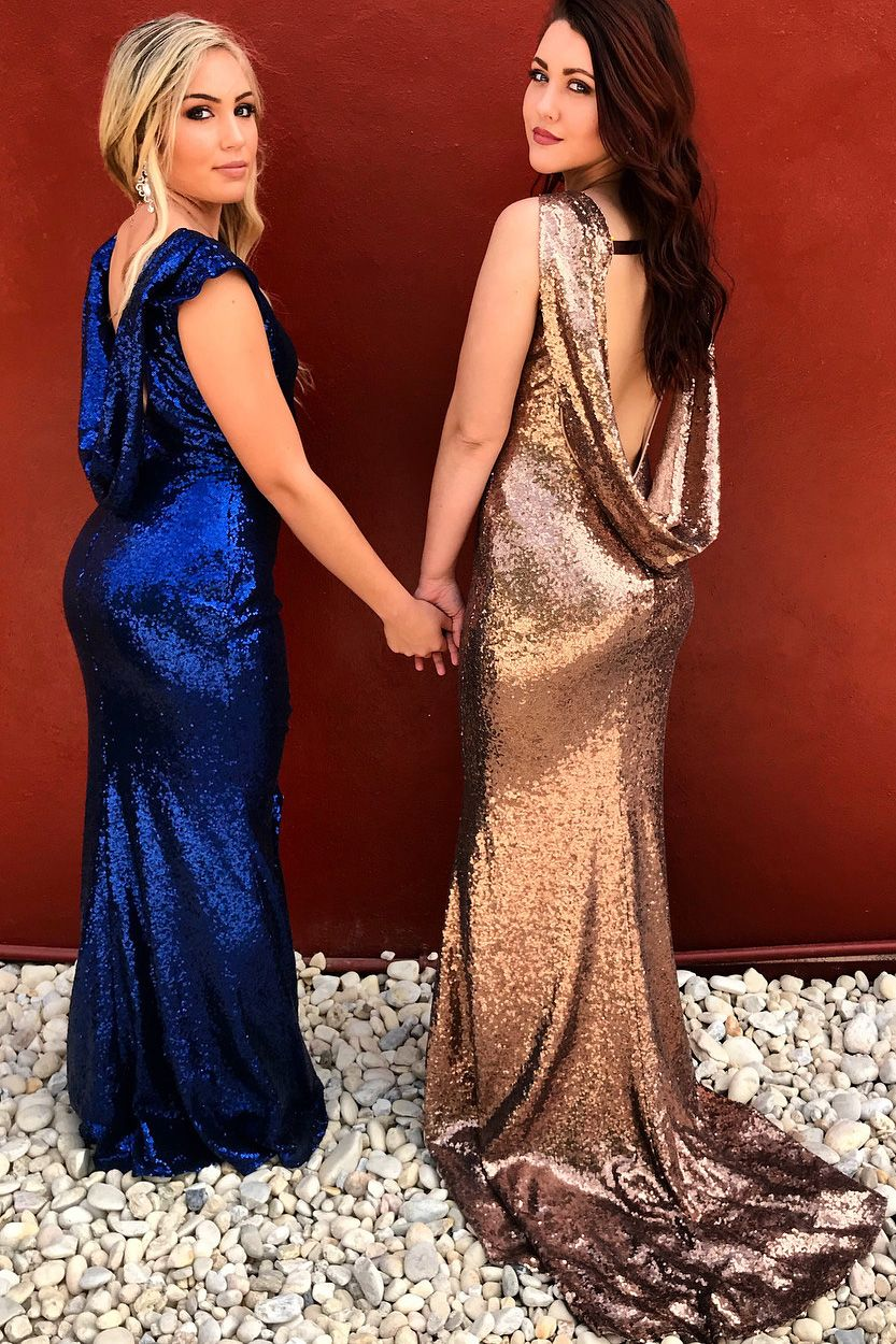 Sparkly royal bluerose gold sequins mermaid long bridesmaid dress