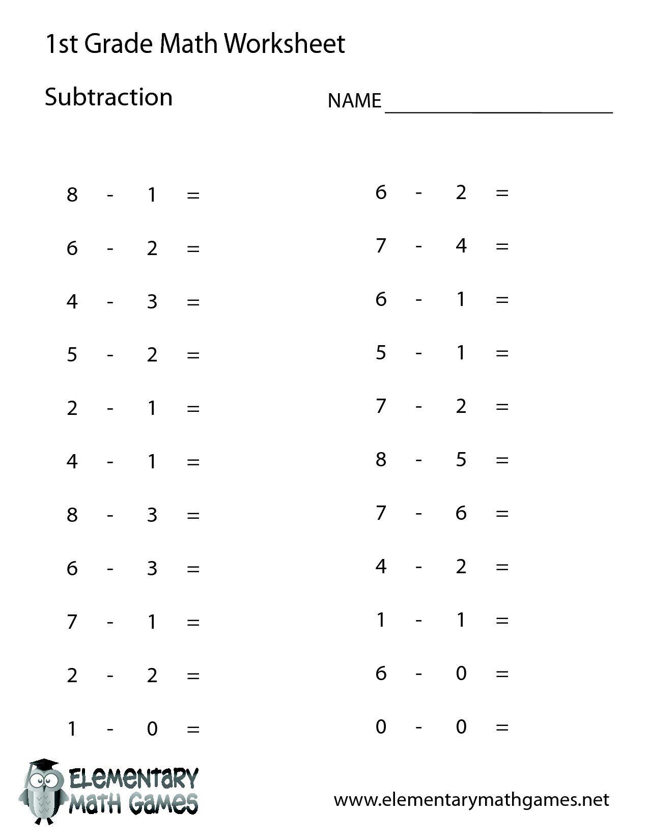5 Worksheet Math Grade1 Subtraction Printable first grade math 1St Grade  Math Worksh… in 2020   1st grade math worksheets [ 1650 x 1275 Pixel ]