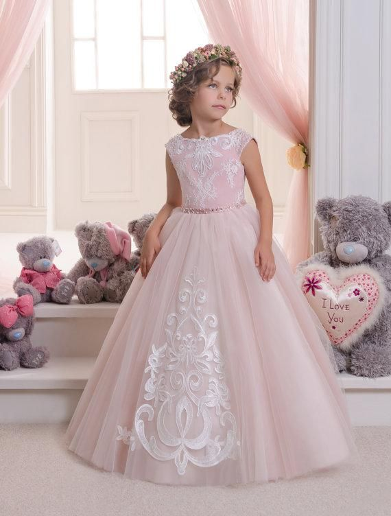 2016 Blush Pink Lace Tulle Flower Girl Dress Wedding Party