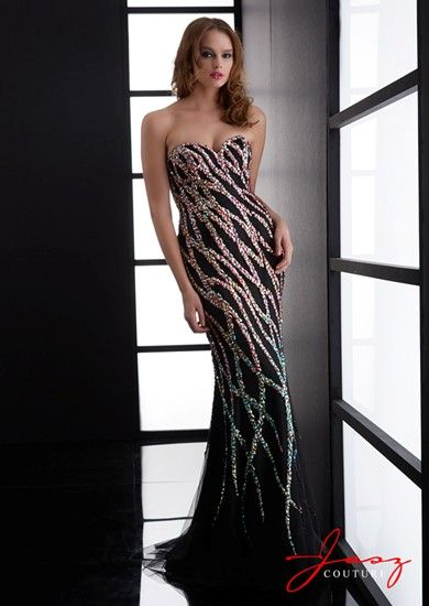 A stunning full length evening gown, with lots of sequin detail, from Jasz  Couture · Black Strapless ...