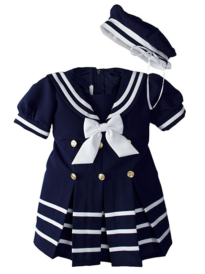 1ca1a9eae63 Baby Toddler Girls Nautical Sailor Dress with Hat Extra Large  18-24 Months  Navy