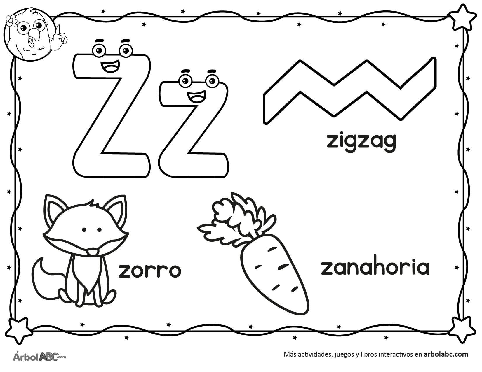 Letra Z Para Colorear Arbol Abc En 2020 Actividades De Letras Actividades De Escritura Letras