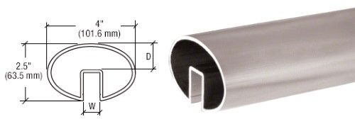 Crl Mill 4 X 2 1 2 Oval Extruded Aluminum Cap Rail For 1 2 Or 5 8a Glass Gr0v4m Extruded Aluminum Silver Caps Glass