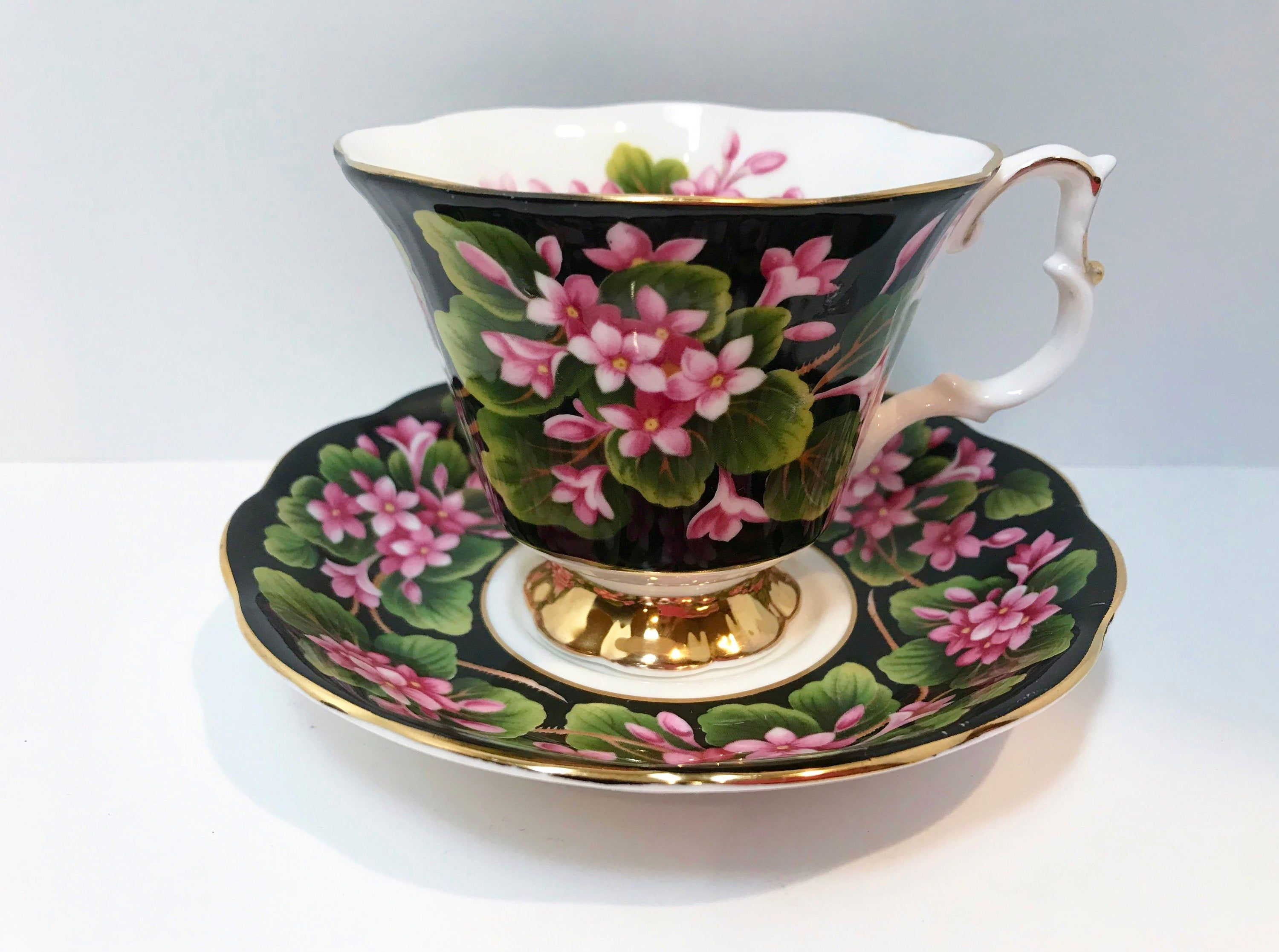 Mayflower Pattern by Royal Albert Tea Cup and Saucer, Provincial Flowers Series, Antique Teacups Vintage, Black Floral Tea Cups Vintage #teacups