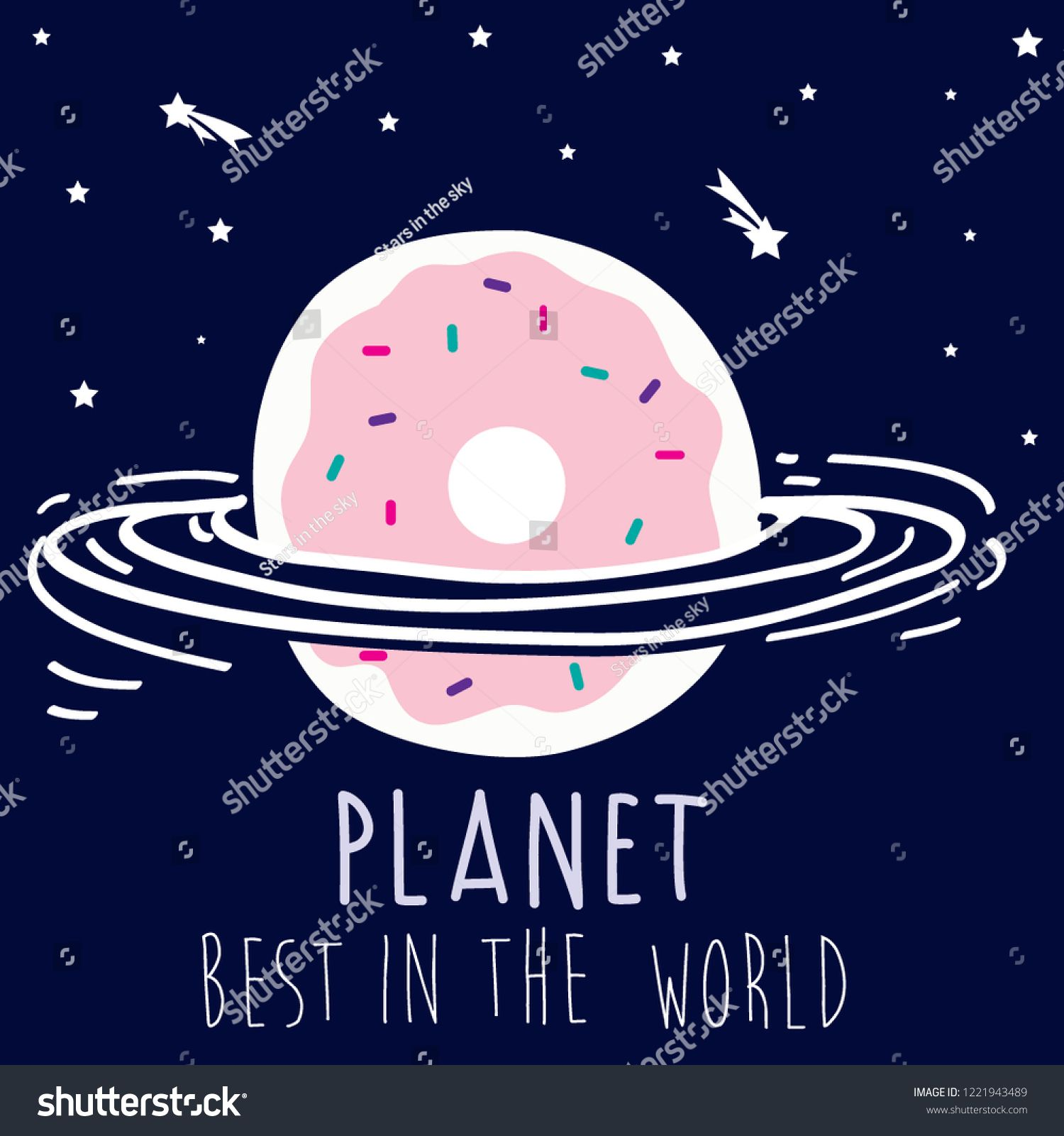 donut planet sky star child tee illustration art vector ,