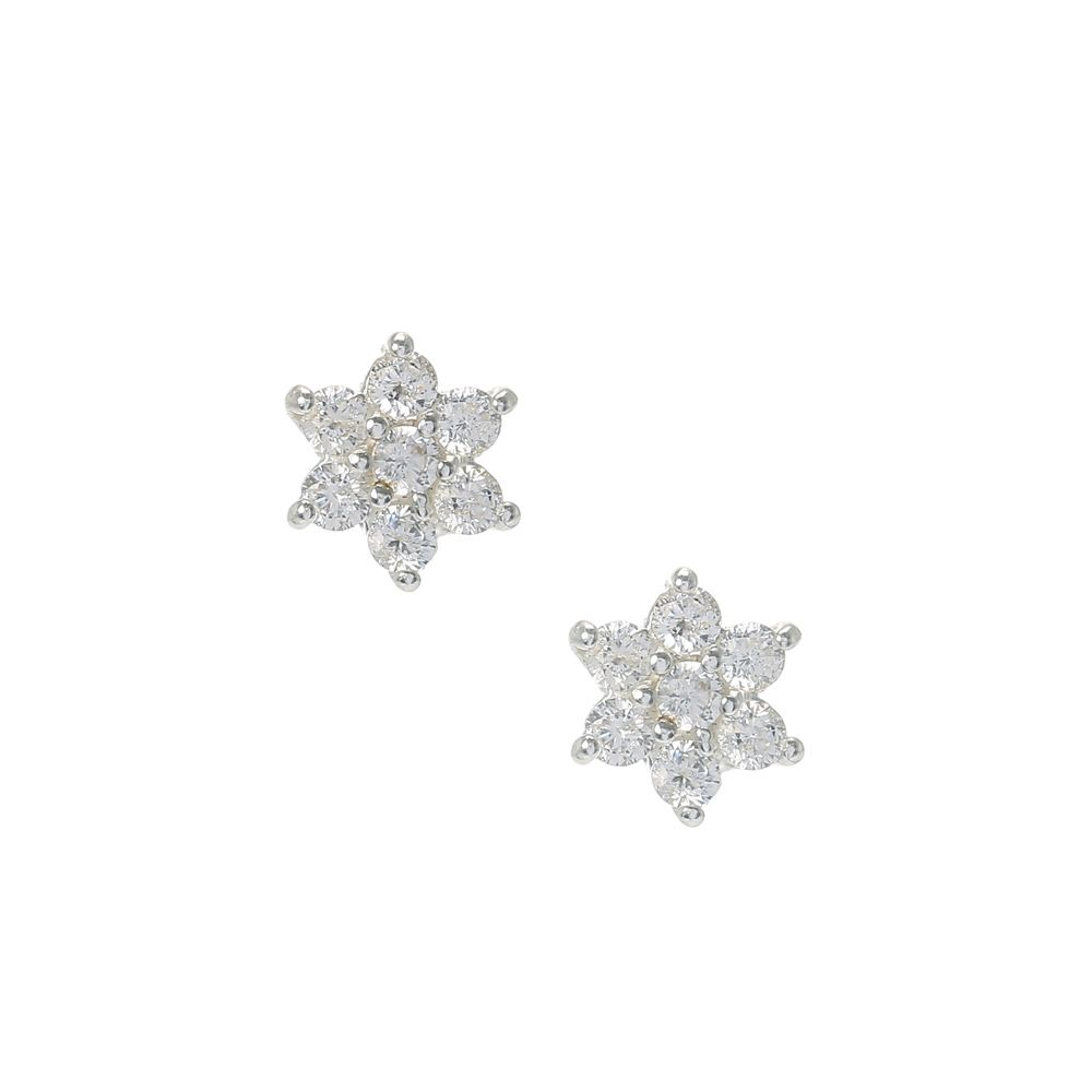 Sterling Silver Cubic Zirconia Flower Stud Earrings | Claire's