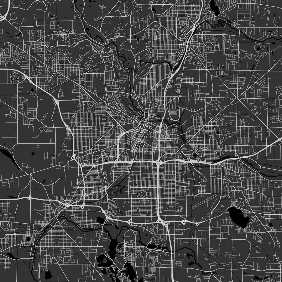 Akron downtown and surroundings Map in dark