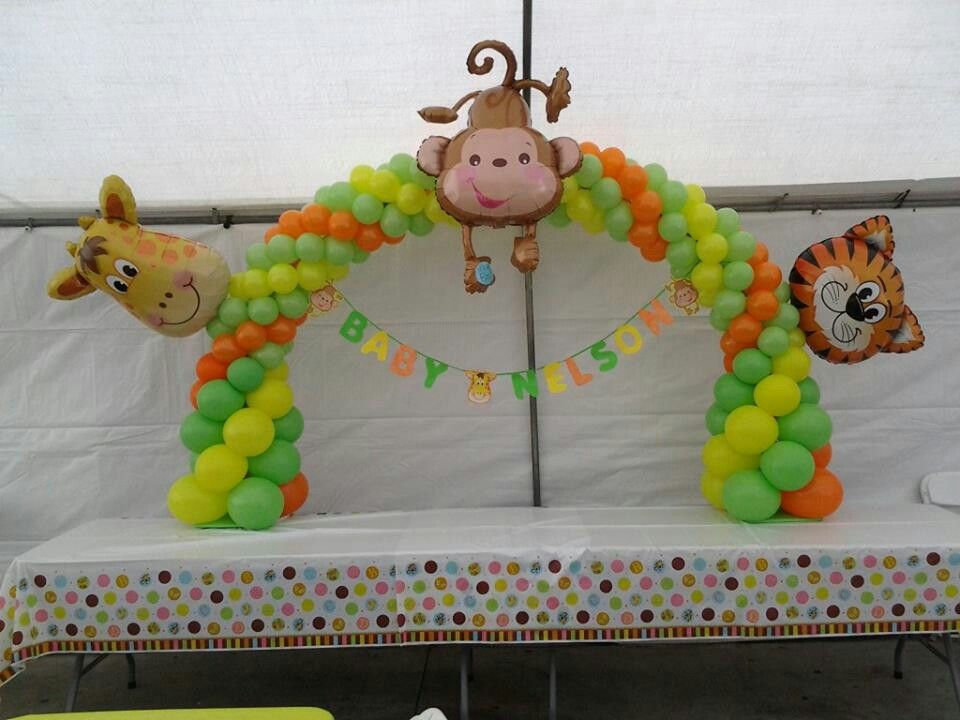 Safari baby shower decoration animals balloon archs for Baby shower safari decoration