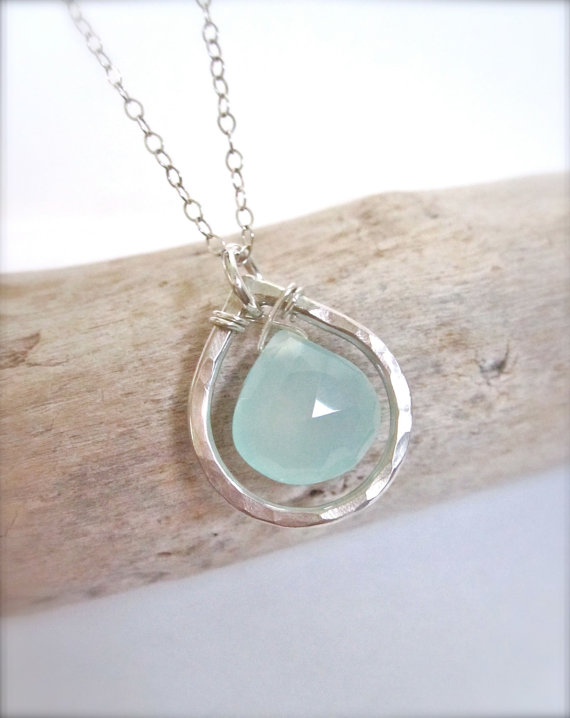 Aqua Chalcedony Wire Wrapped Briolette Sterling Silver Necklace Teardrop Necklace Silver Necklace Gift for Her