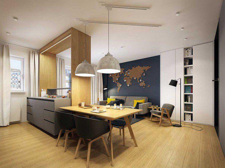 D co cuisine ouverte sur salon moderne table for Cuisine ouverte cachee