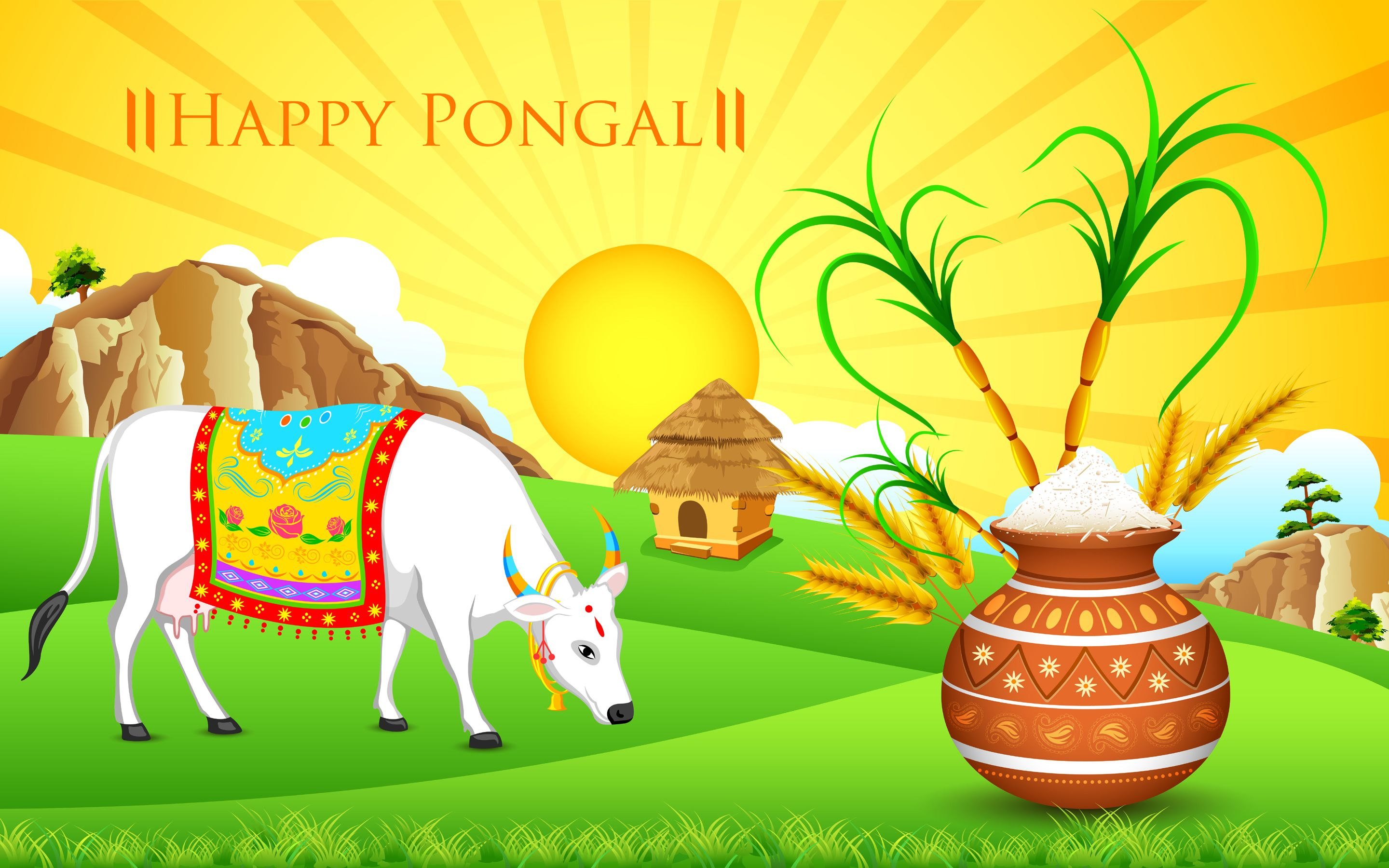 Happy Pongal Festival Wishes Lovely Desktop Wallpaper Happy Pongal