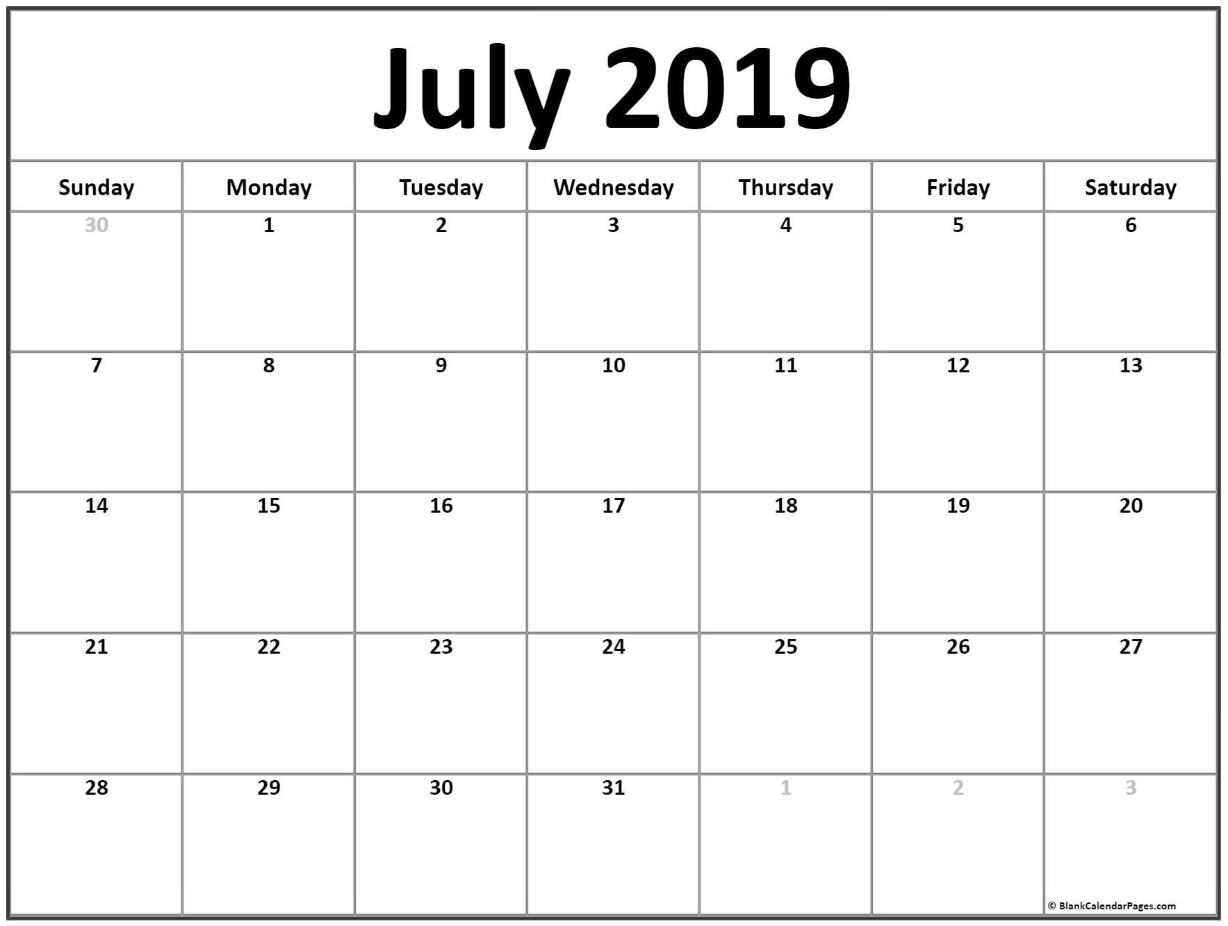 July 2019 Calendar Free Printable Monthly Calendars Monthly