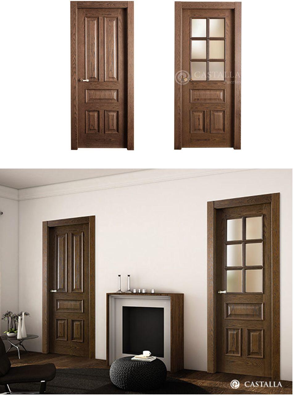Puerta de interior oscura modelo timbal de la serie carpintera de puertas castalla puerta de - Modelos de puertas interiores ...