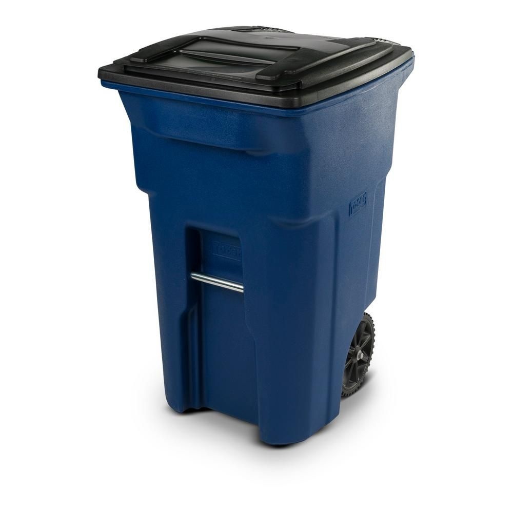 Toter 64 Gal Blue Trash Can With Wheels And Attached Lid 25564 R1705 Outdoor Trash Cans Garbage Can Canning