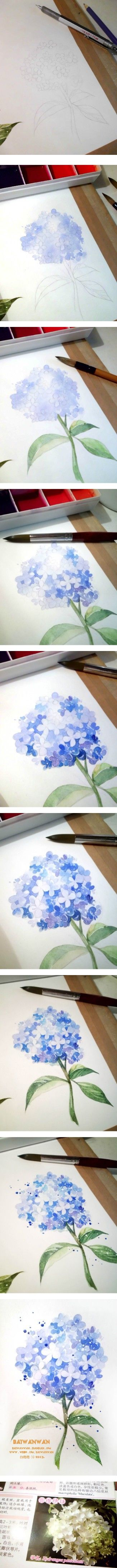 Watercolor hydrangea step-by-step