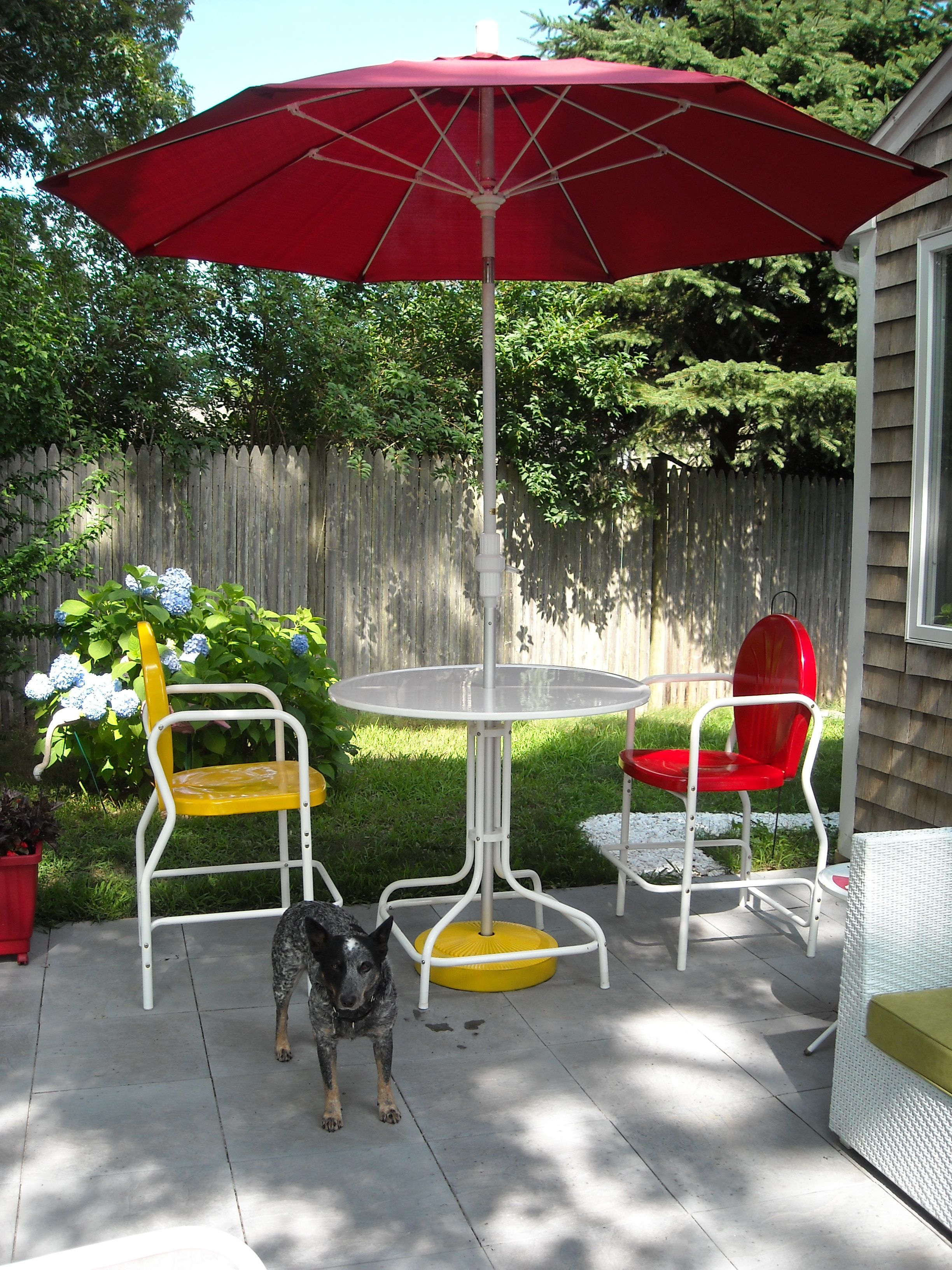 Torrans Manufacturing Retro Metal Bar Table And Chairs And Lilly The  Australian Cattle Dog