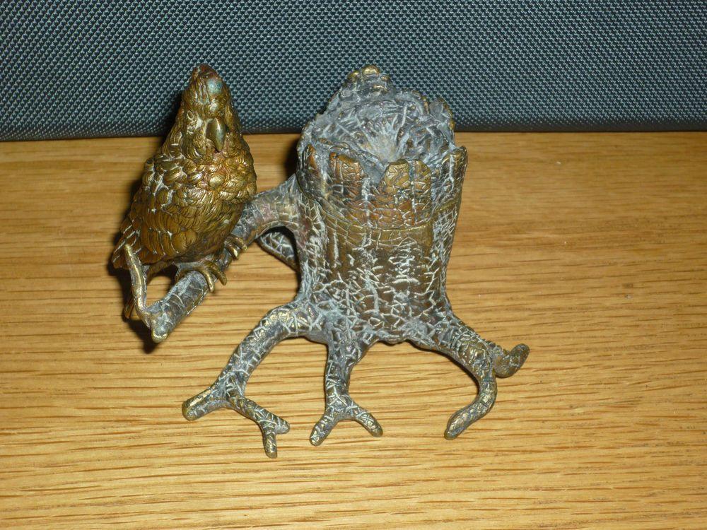Antique Vienna Bronze Parrot Inkwell Rare #Geschultzt