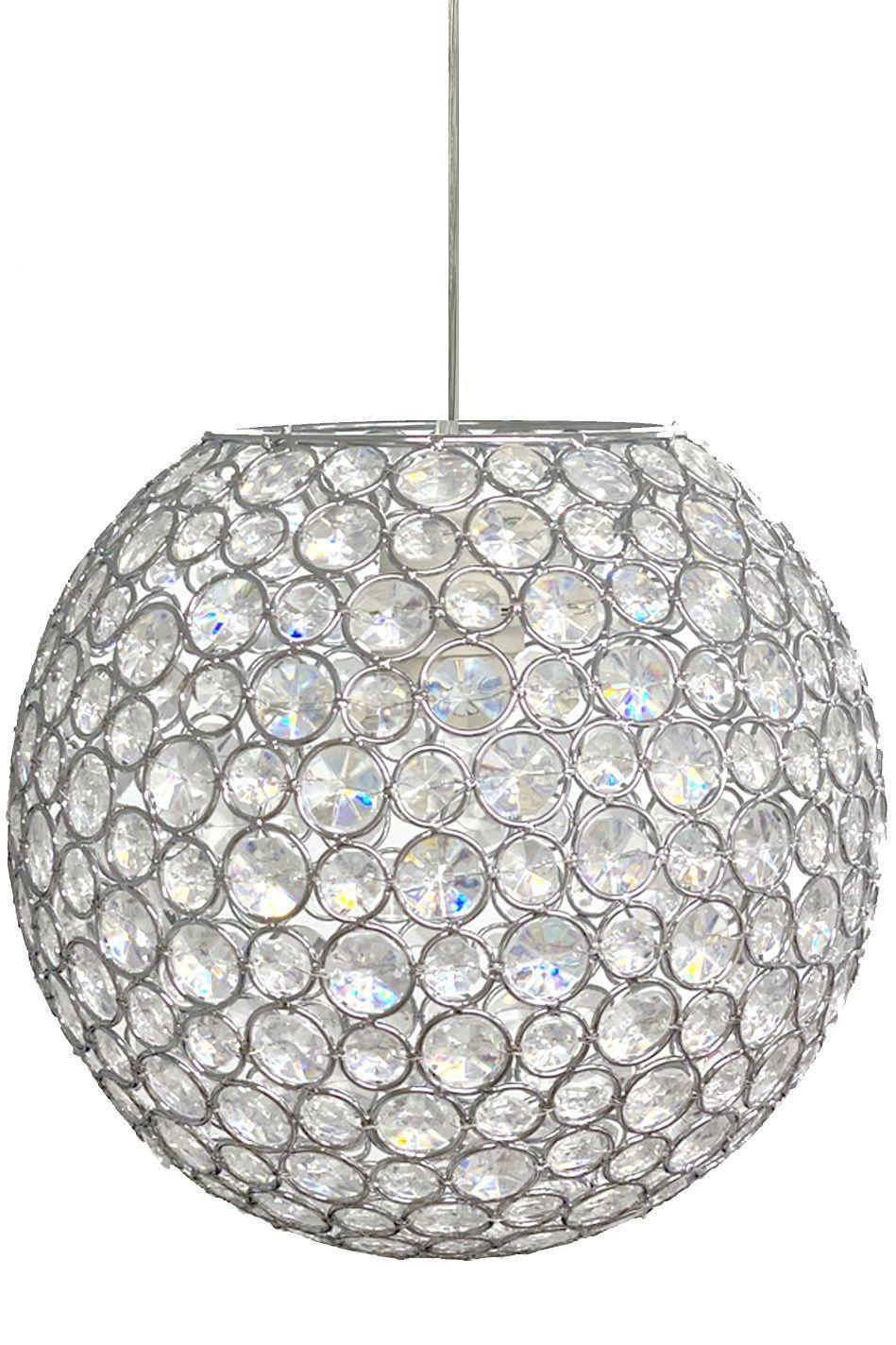 Crystal Beaded Sphere Chandelier W Light Cord Kit 10 Diameter