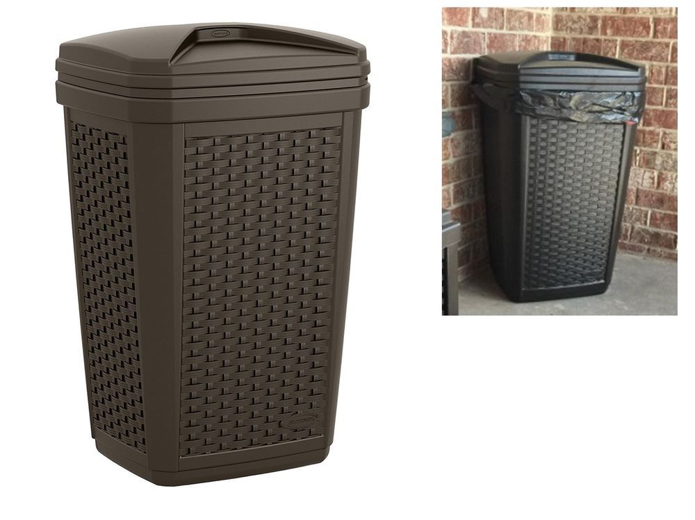 Wicker Trash Can Garbage Bags Waste Cans Container Bin Outdoor Indoor Resin  Bins
