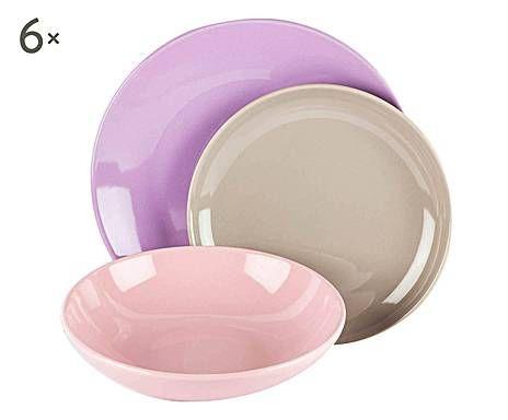 Bagno Lilla E Rosa : Kaleidos : servizio di piatti in gres rosa e lilla 18 pezzi