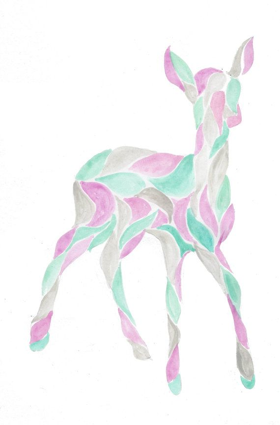 Forest Woodlands Animal Silhouette Deer Fawn Doe by TJHJoyDesigns