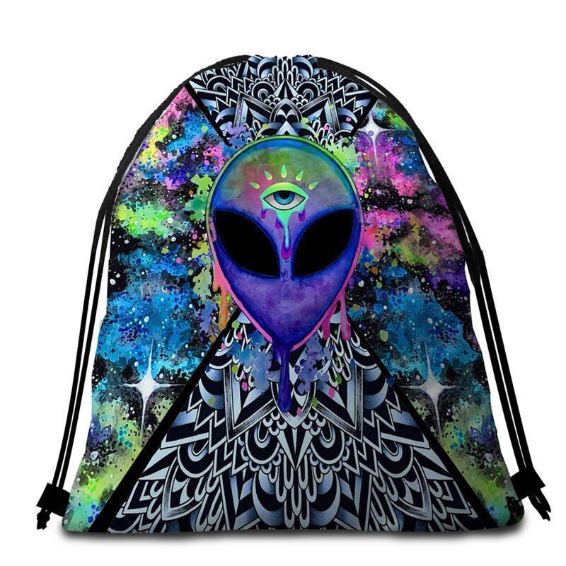 Trippy Alien von Brizbazaar Rundes Strandtuch Aquarell Tapisserie Saucerman Auge Toalla Badetuch Mit Quaste 150cm Mandala Mat  Azhippie  HippieKleidung im BohoStil Hippie...