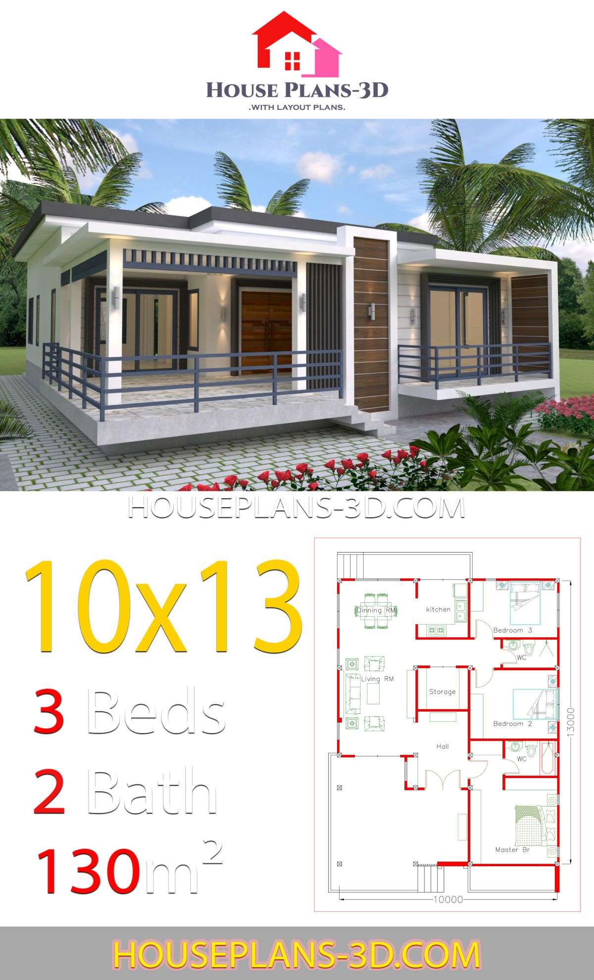 House Design 10x13 With 3 Bedrooms Terrace Roof House Plans 3d House Design Pictures House Plans Mansion House Construction Plan