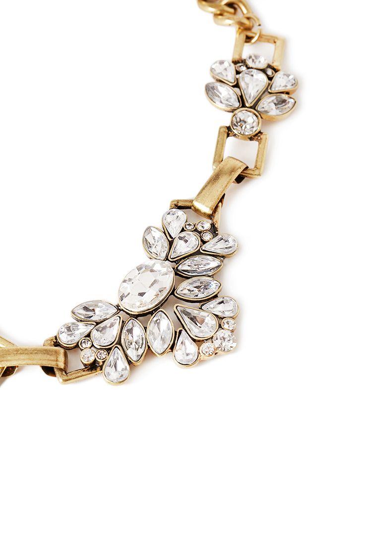 Teardrop Rhinestone Statement Chain Necklace | FOREVER21 - 1002246800
