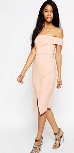 Weekend In Paris Light Pink Off The Shoulder One Sleeve Asymmetric ...