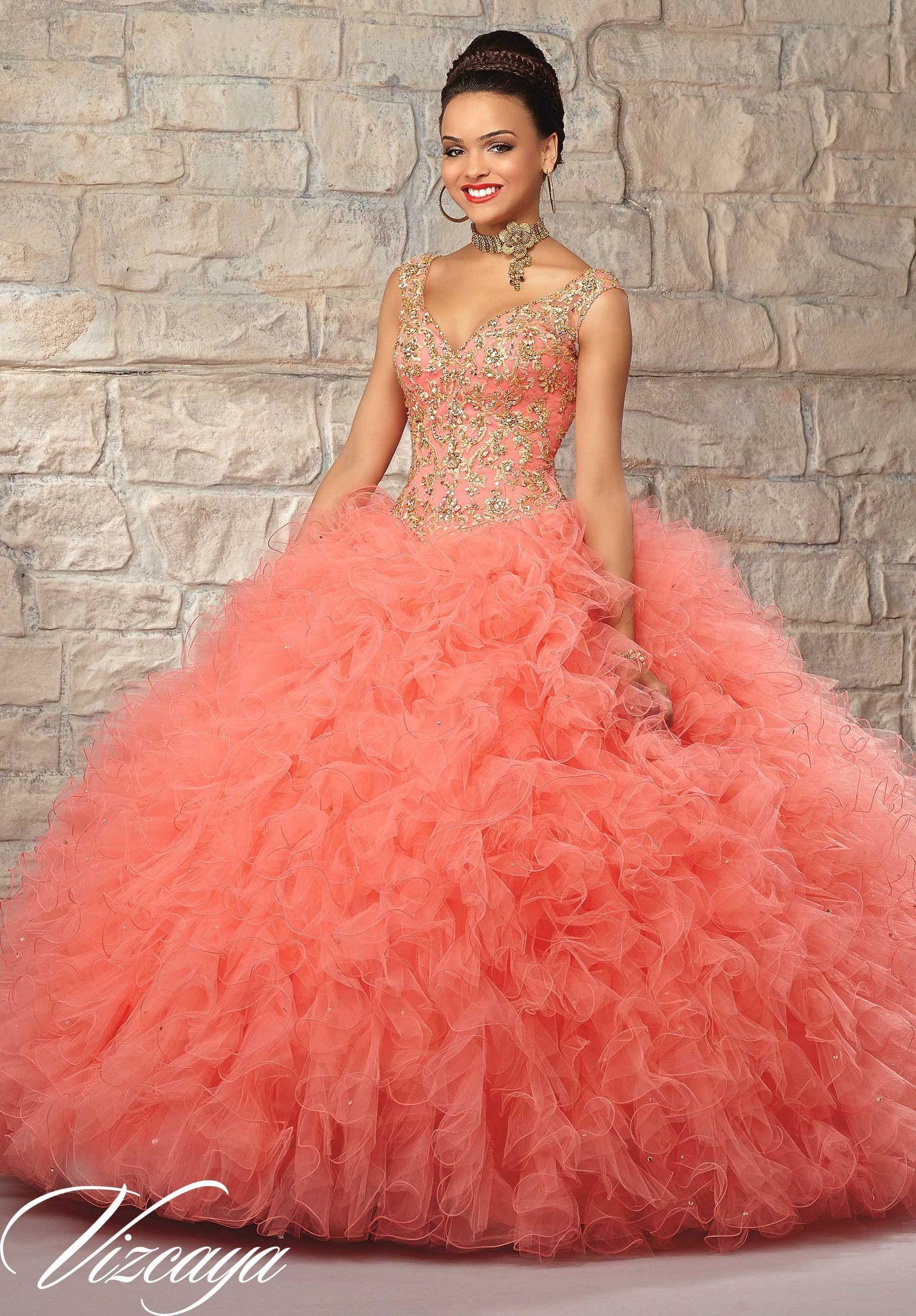 1ba564c49a1 Ruffled V-Neck Quinceanera Dress by Mori Lee Vizcaya 89037