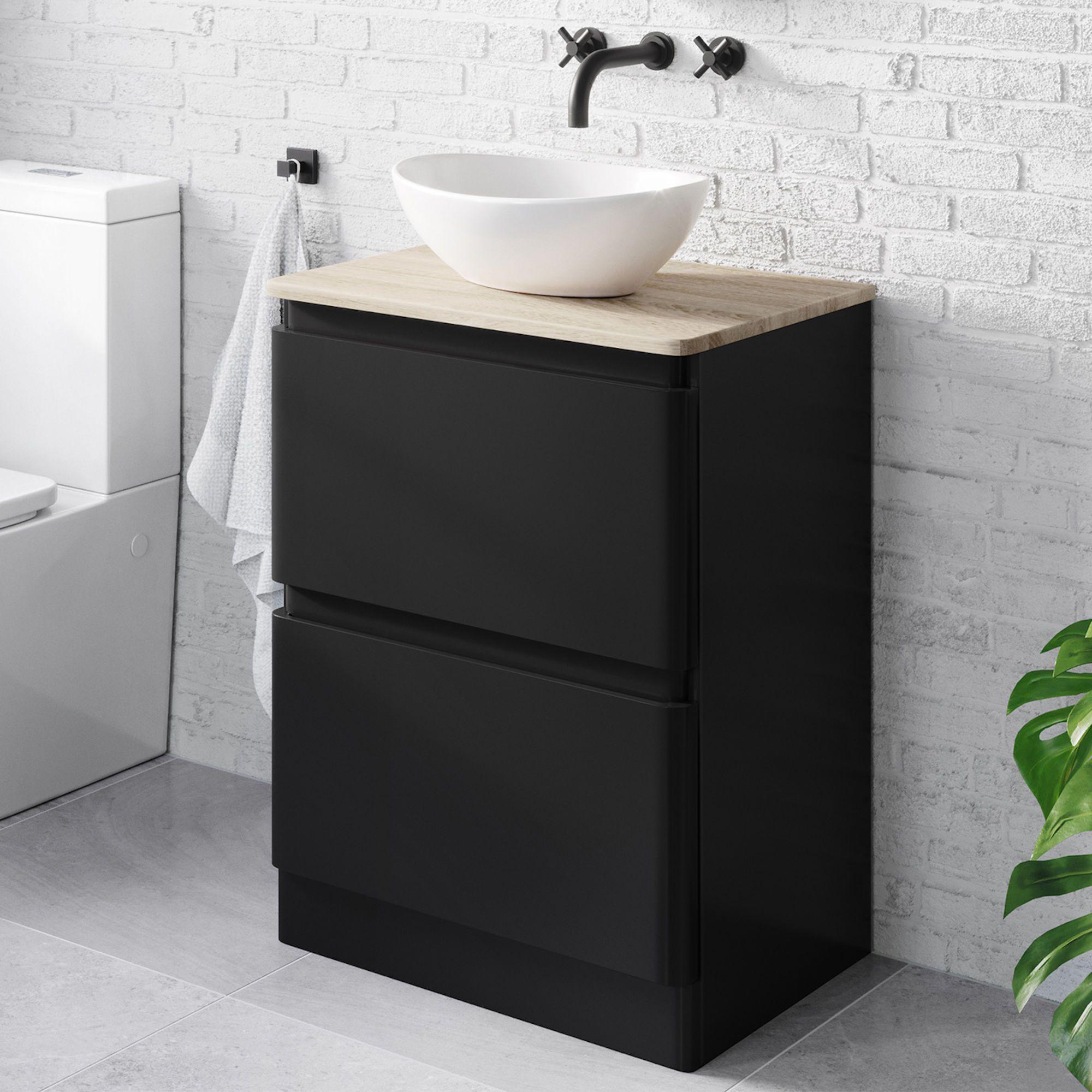 Black Vanity Unit Counter Top Sink