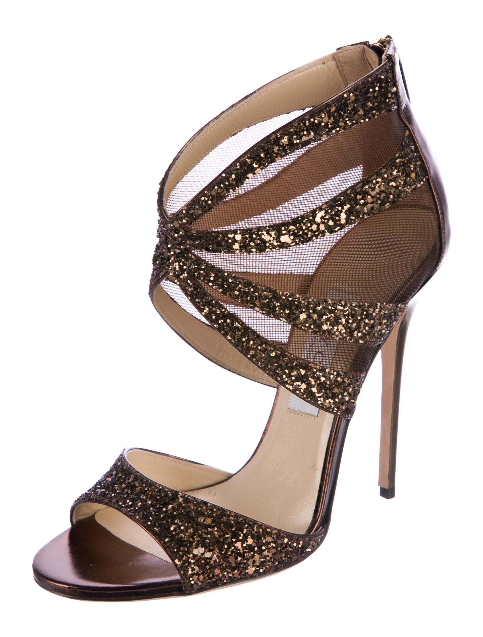 e0d98a52d23 Jimmy Choo. Brown and black glitter peep-toe cut-out sandals.  therealreal   preowndesignershoes  authenticdesignershoes  designerleathersandals   Jimmychoo ...