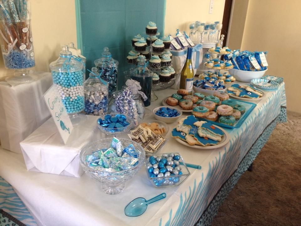Blue Baby Shower Candy Buffet Part - 26: Candy Table For Boy Baby Shower!