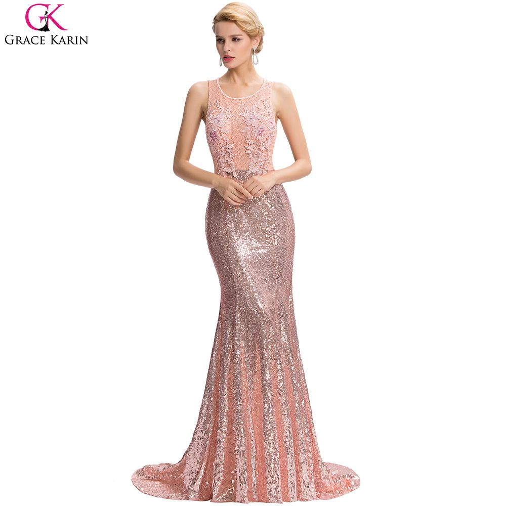 Lace pink backless floor length party dresses elegant formal gowns