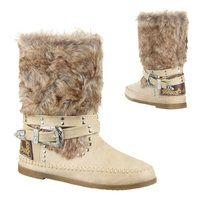 e884b8feb6b Dames Indianen enkellaarzen / Ibiza boots met bont - beige ...