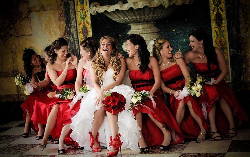 Red wedding dress white bridesmaids