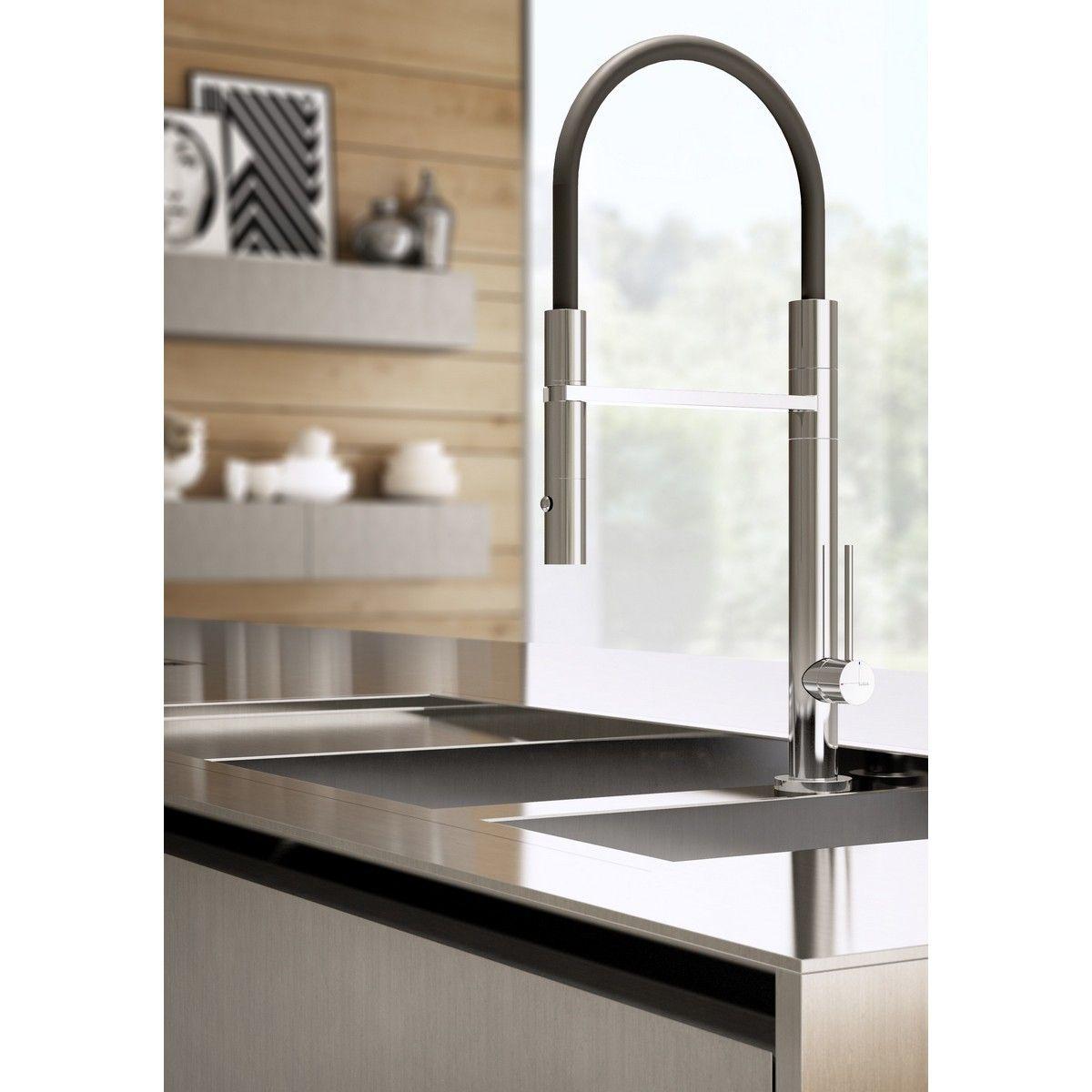 Hotbath Fellow FKM11 professionele keukenkraan met uittrekbare DualSpray handdouche geborsteld staal glans