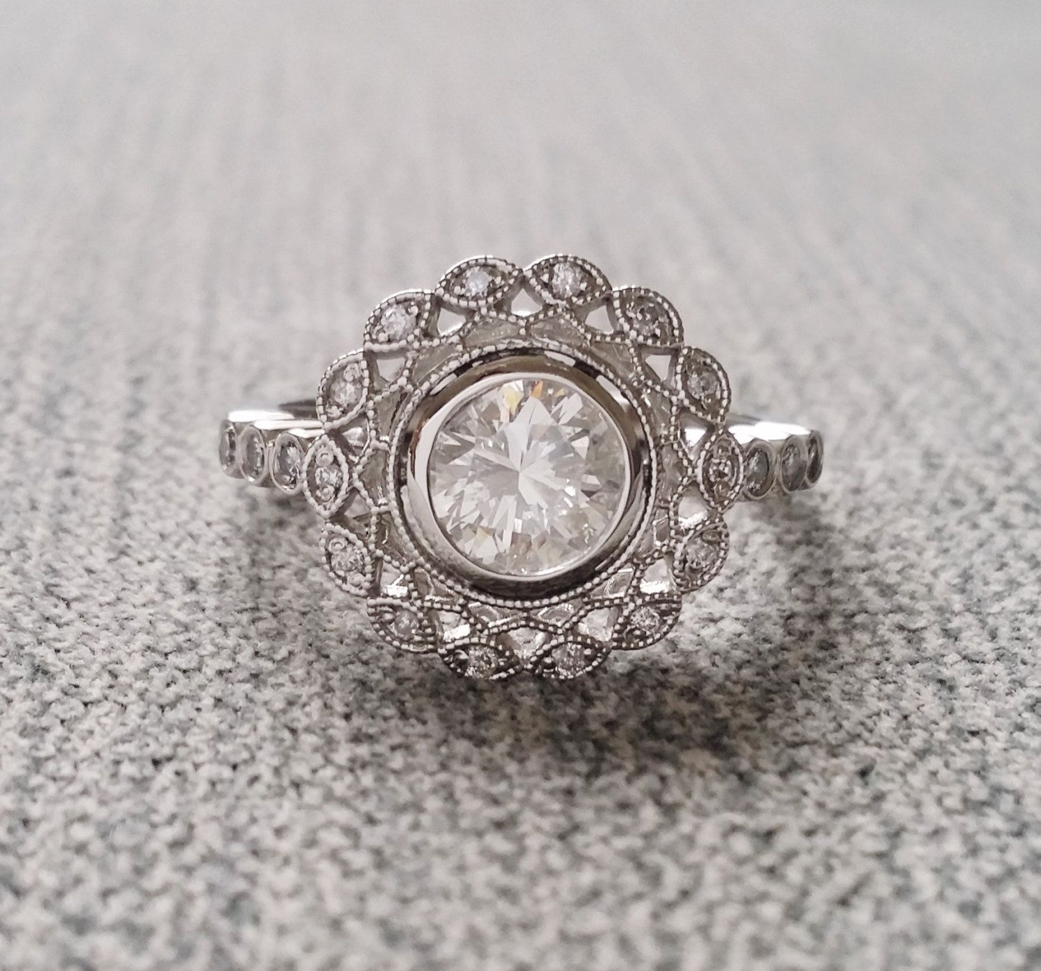 moissanite accents engagement with products cut rose rasp ring bezel textured by cushion diamond platinum diamonds dsc gold nodeform