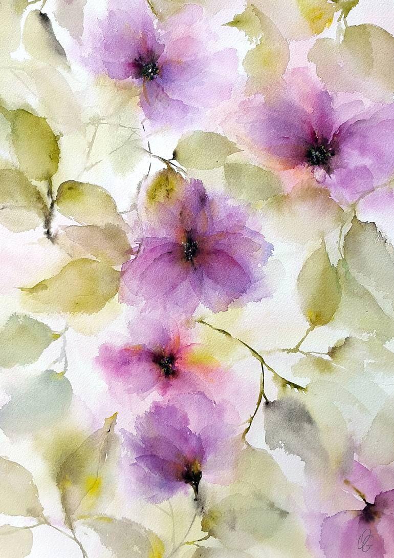 Purple Mood Painting Flower Painting Watercolor Flowers