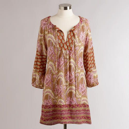 One of my favorite discoveries at WorldMarket.com: Long Rust Paisley Malaya Tunic