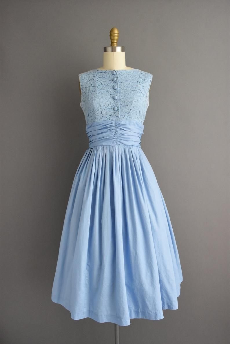 Vintage 1950s Periwinkle Blue Cotton Full Skirt Summer Dress Etsy Cotton Dress Summer Vintage Dresses Dresses [ 1188 x 794 Pixel ]