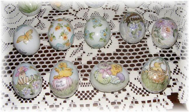 Original hand painted porcelain eggs by Priscilla