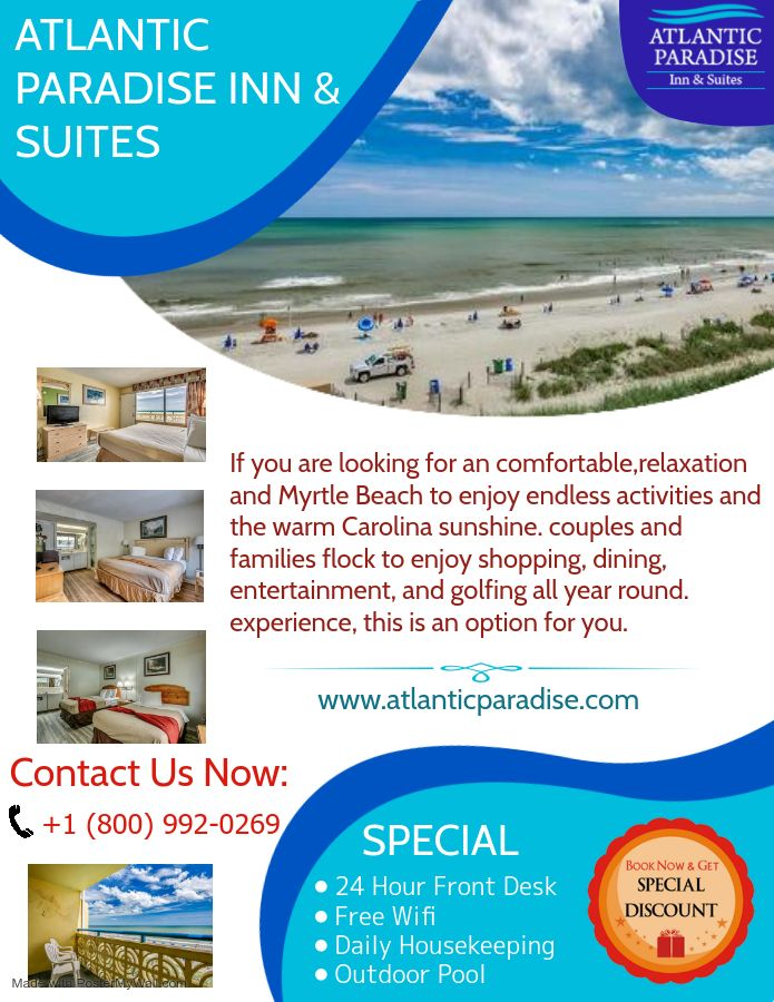The morning Special Time Spend at @Atlantic Paradise Inn & Suites.visitors return to Myrtle Beach to enjoy endless🚣♀️🏊♂️🏄♀️ activities and the warm Carolina sunshine🌞🌞. Book Now:  +1 (800) 992-0269   #Atlantic #Paradiseinn #Suites #Holidayspecial #Enjoyed #Comfort