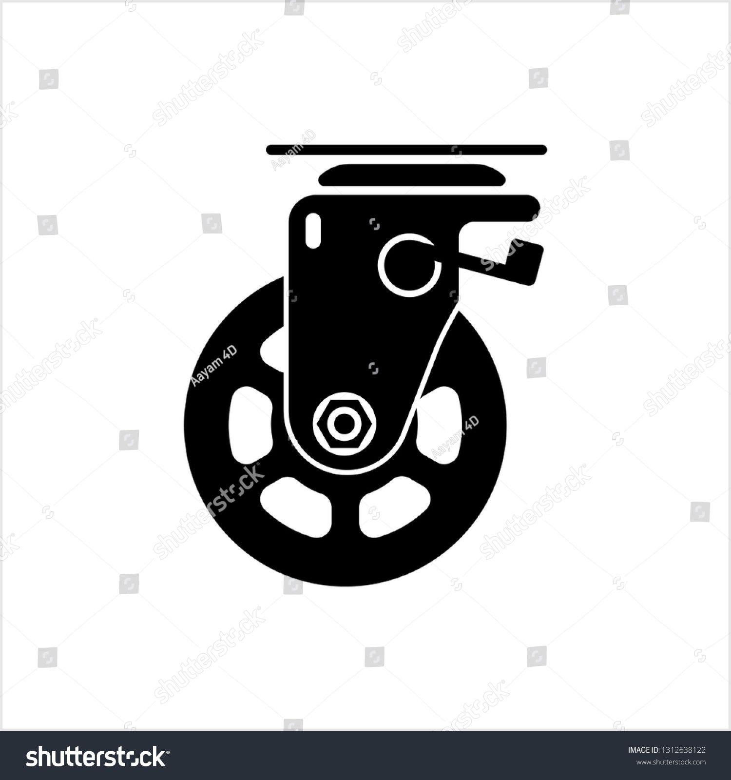 Caster Wheel Icon Vector Art Illustration #Ad , #Sponsored, #Icon#Wheel#Caster#Illustration