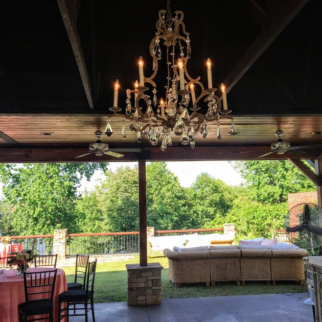 Chandelier And Outdoor Furniture At This Cricket Newman Rehearsal Dinner At  Stone River In Columbia,