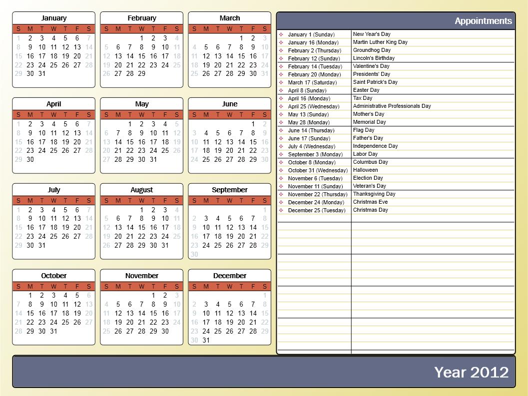 Calendar Template For Powerpoint   Powerpoint Template