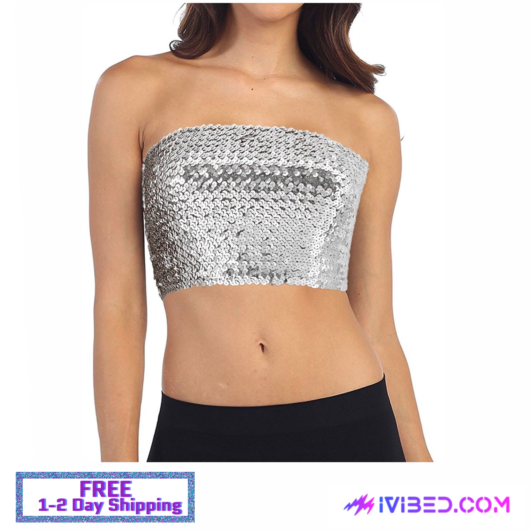 a4798254fc0 Rave Tank Top Tube Top Girls Silver Sequin Off Shoulder Tube Top ...