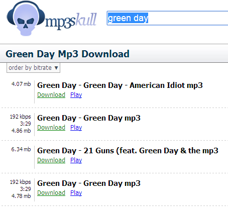 green day songs mp3 download skull